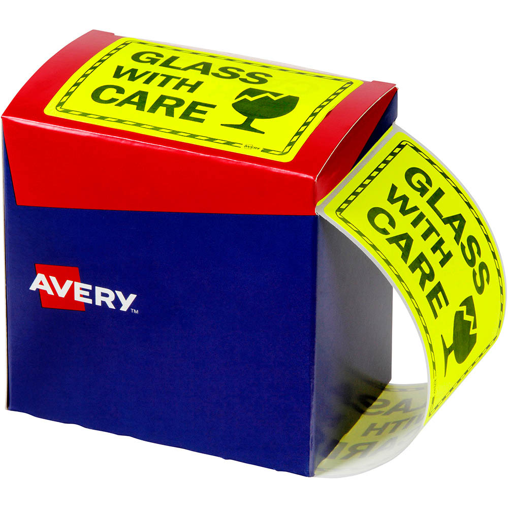 Image for AVERY 932618 MESSAGE LABEL GLASS WITH CARE 75 X 99.6MM FLUORO YELLOW PACK 750 from Office National Capalaba