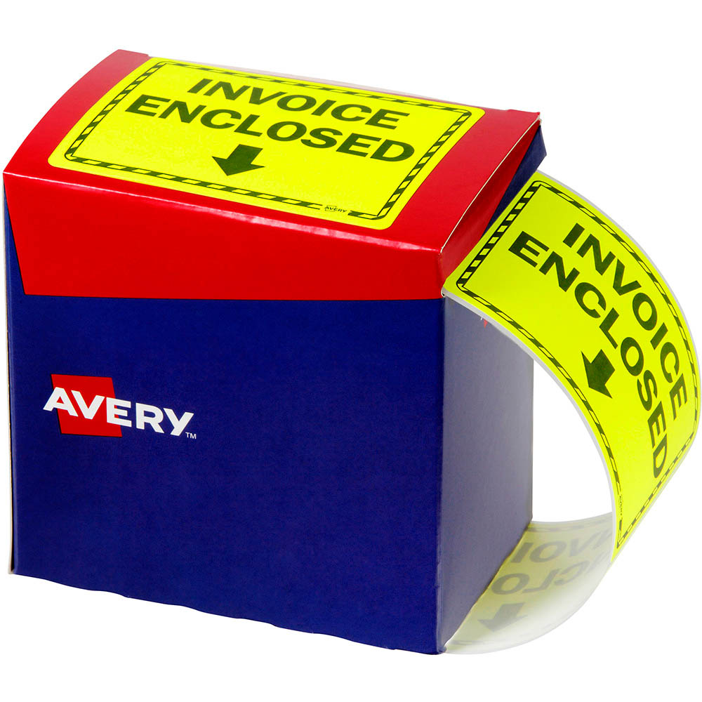Image for AVERY 932619 MESSAGE LABEL INVOICE ENCLOSED 75 X 99.6MM FLUORO YELLOW PACK 750 from Office National Capalaba