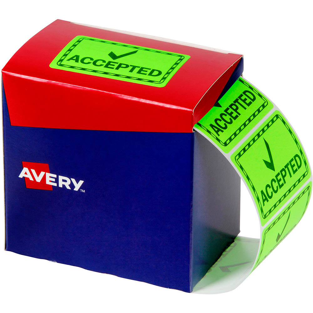 Image for AVERY 932620 MESSAGE LABEL ACCEPTED 75 X 48.8MM FLUORO GREEN PACK 1500 from Office National Capalaba
