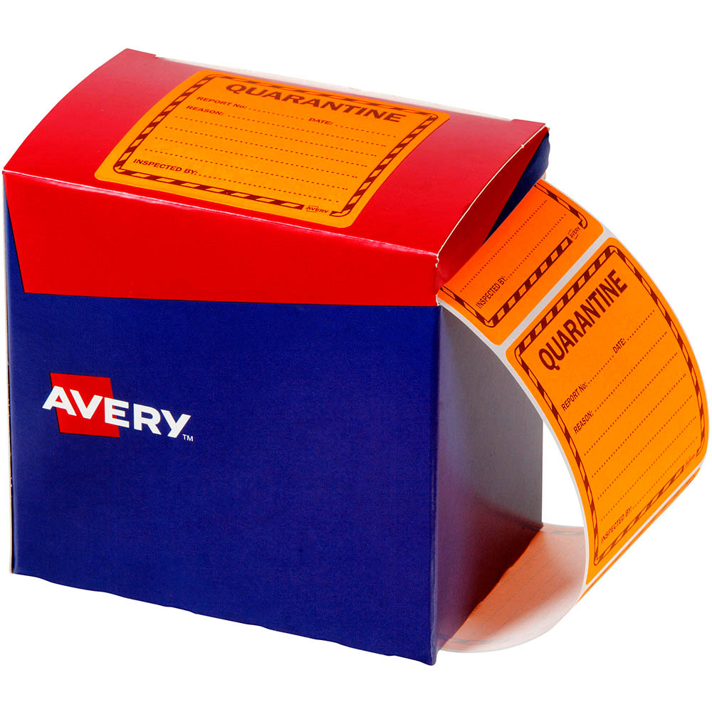 Image for AVERY 932621 MESSAGE LABEL QUARANTINE 75 X 74.2MM FLUORO ORANGE PACK 1000 from Office National Capalaba