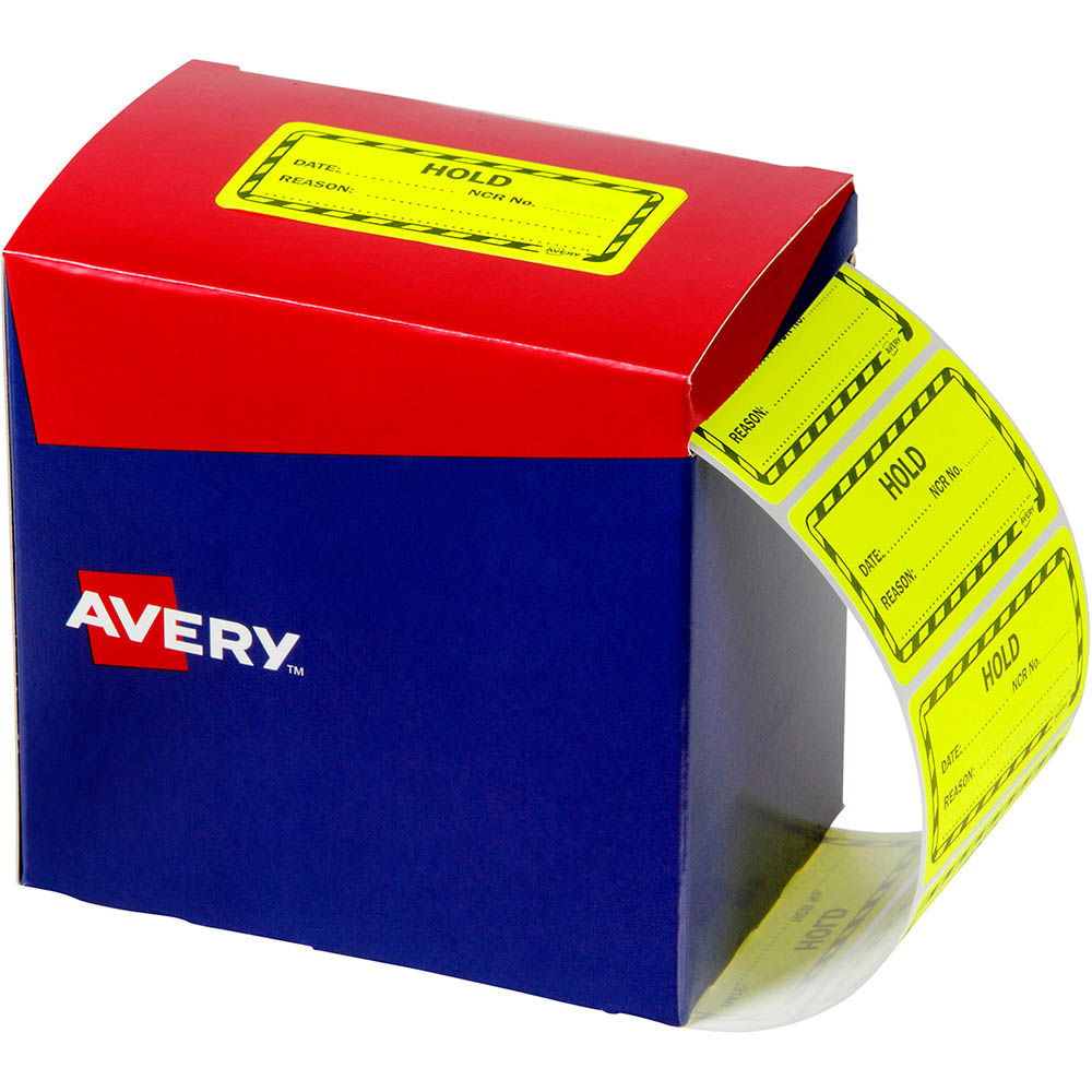 Image for AVERY 932622 MESSAGE LABEL HOLD 75 X 36.1MM FLUORO YELLOW PACK 2000 from Office National Capalaba