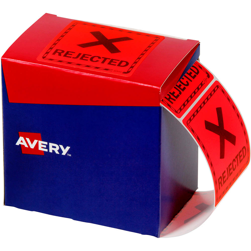 Image for AVERY 932623 MESSAGE LABEL REJECTED 75 X 74.2MM FLUORO RED PACK 1000 from Office National Capalaba