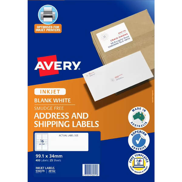 Image for AVERY 936029 J8162 QUICK PEEL ADDRESS LABEL WITH SURE FEED INKJET 16UP WHITE PACK 25 from Office National Capalaba