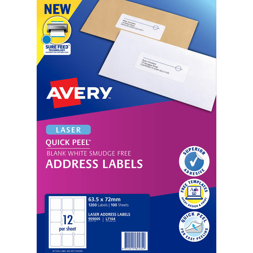 Image for AVERY 959005 L7164 QUICK PEEL ADDRESS LABEL WITH SURE FEED LASER 12UP WHITE PACK 100 from Axsel Office National