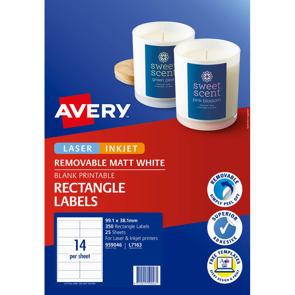 Image for AVERY 959046 L7163 REMOVABLE MULTI-PUROSE LABEL LASER INKJET 14UP WHITE PACK 25 from Mackay Business Machines (MBM)