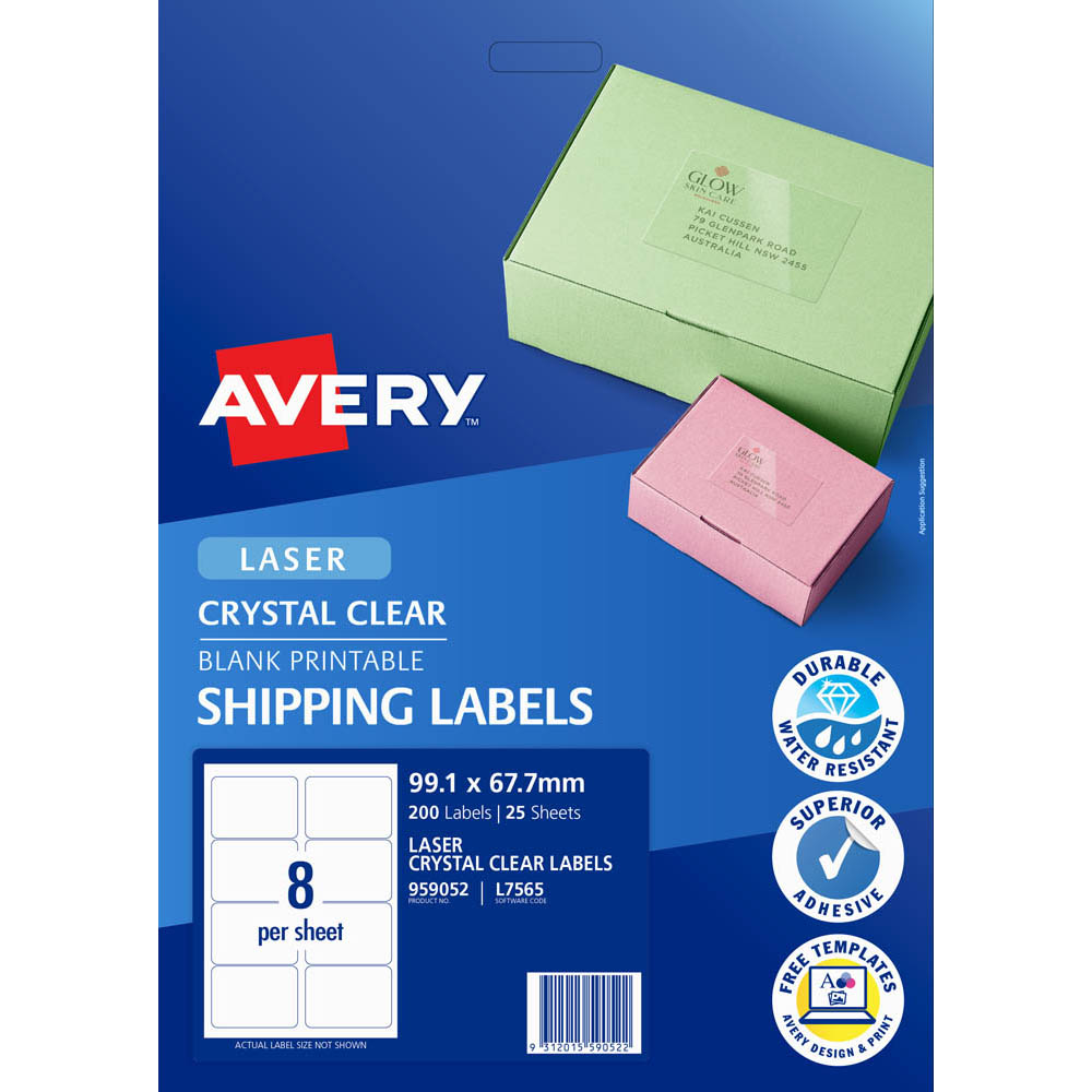 Image for AVERY 959052 L7565 CRYSTAL CLEAR ADDRESS LABEL LASER 8UP CLEAR PACK 25 from Mackay Business Machines (MBM)