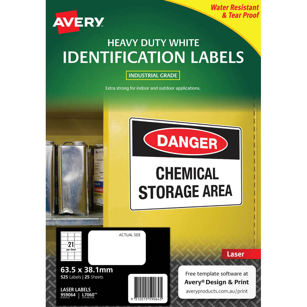 Image for AVERY 959064 L7060 HEAVY DUTY LASER LABELS 21UP WHITE PACK 25 from PaperChase Office National