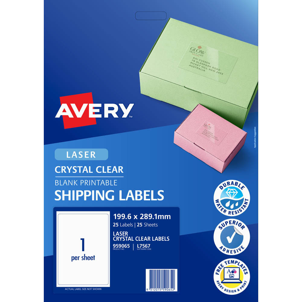 Image for AVERY 959065 L7567 CRYSTAL CLEAR ADDRESS LABEL LASER 1UP CLEAR PACK 25 from Mackay Business Machines (MBM)