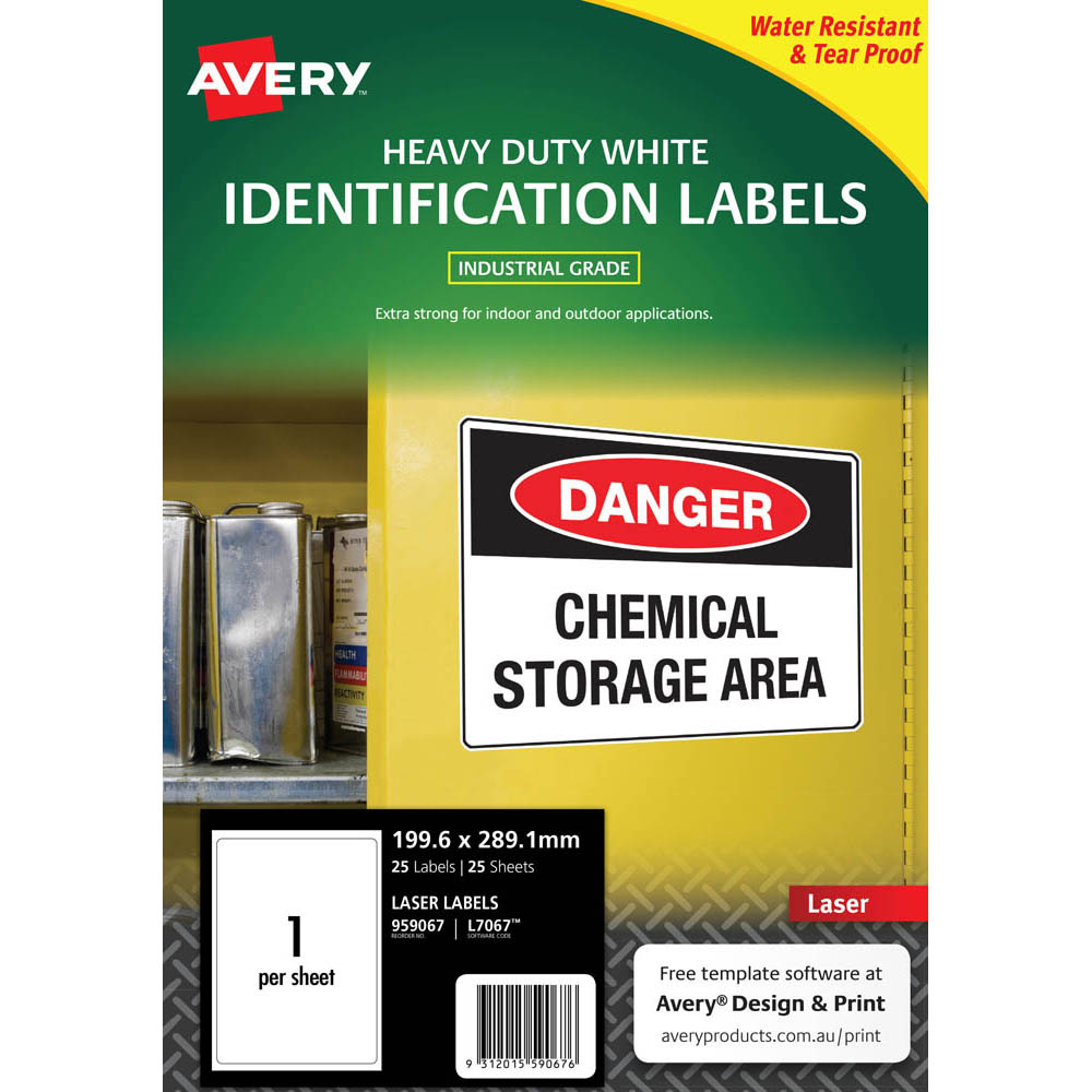 Image for AVERY 959067 L7067 HEAVY DUTY LASER LABELS 1UP WHITE PACK 25 from Office National Perth CBD