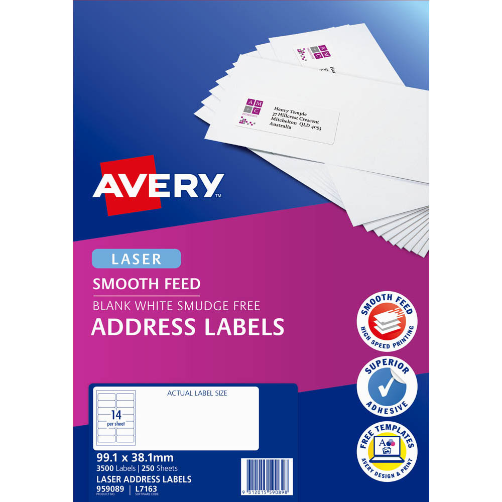 Image for AVERY 959089 L7163 ADDRESS LABEL SMOOTH FEED LASER 14UP WHITE PACK 250 from Axsel Office National