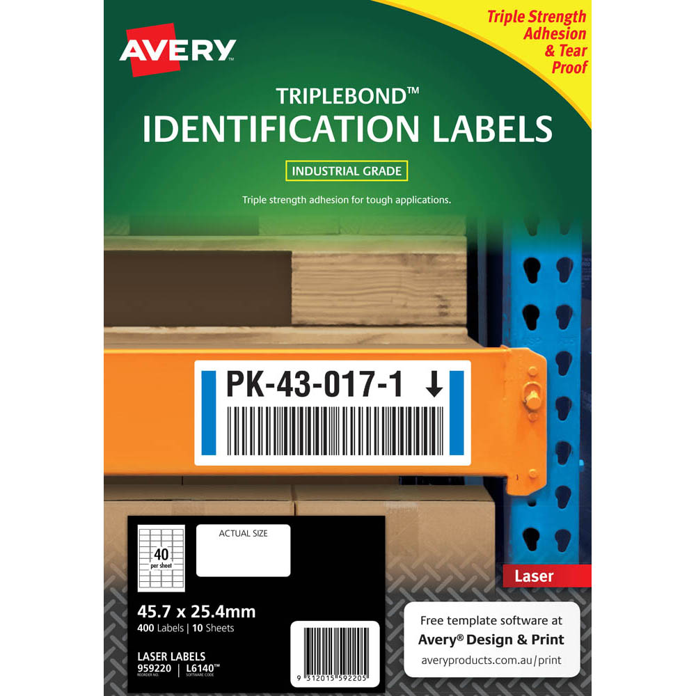 Image for AVERY 959220 EXTRA STRONG TRIPLEBOND LABELS 45.7 X 25.4MM WHITE PACK 10 from Axsel Office National