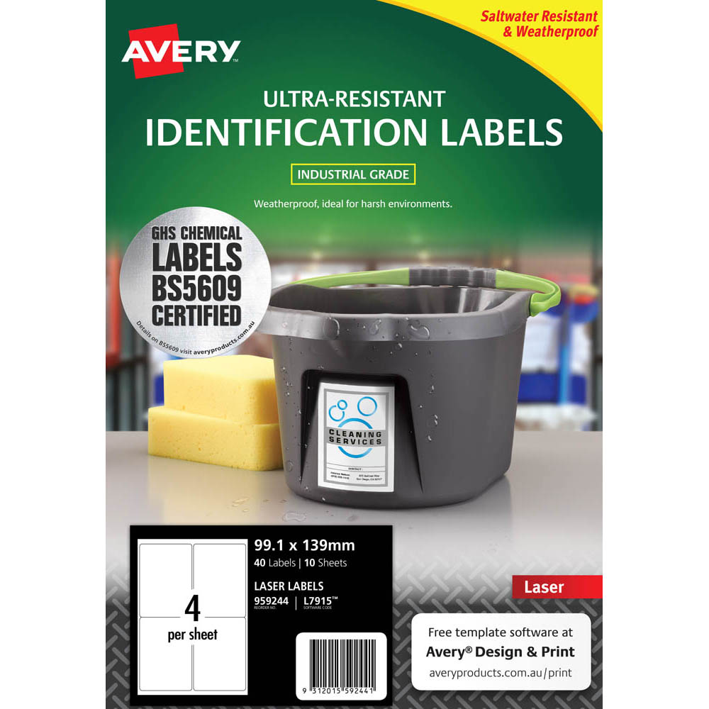 Image for AVERY 959244 ULTRA-RESISTANT OUTDOOR LABELS 99.1 X 139MM WHITE PACK 10 from Axsel Office National