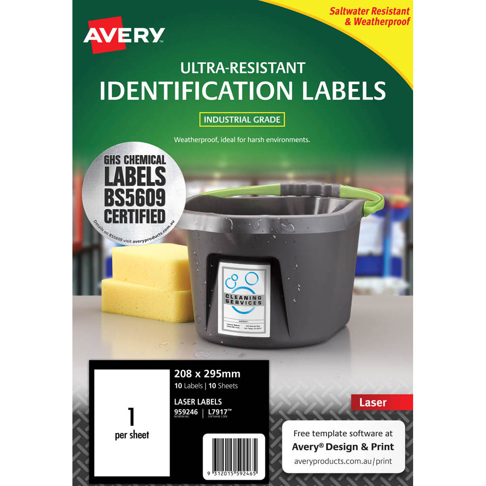 Image for AVERY 959246 ULTRA-RESISTANT OUTDOOR LABELS 210 X 297MM WHITE PACK 10 from Axsel Office National