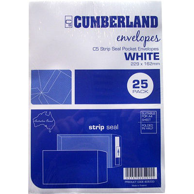 Image for CUMBERLAND C5 ENVELOPES POCKET PLAINFACE STRIP SEAL 85GSM 162 X 229MM WHITE PACK 25 from Mackay Business Machines (MBM)