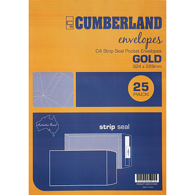 Image for CUMBERLAND C4 ENVELOPES POCKET PLAINFACE STRIP SEAL 85GSM 324 X 229MM GOLD PACK 25 from Mackay Business Machines (MBM)
