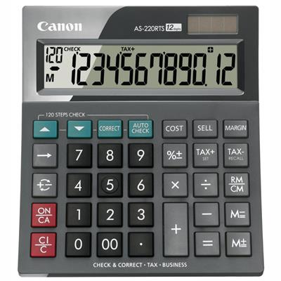 Image for CANON AS-220RTS ARC DESKTOP CALCULATOR 12 DIGIT GREY from Office National Capalaba