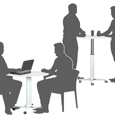 Image for VISIONCHART HEIGHT ADJUSTABLE BREAKROOM TABLE ROUND 800MM WHITE from City Stationery Office National