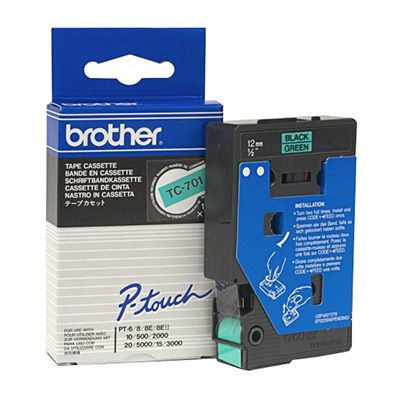 Image for BROTHER TC-701 LAMINATED LABELLING TAPE 12MM BLACK ON GREEN from OFFICE NATIONAL CANNING VALE, JOONDALUP & OFFICE TOOLS OPD