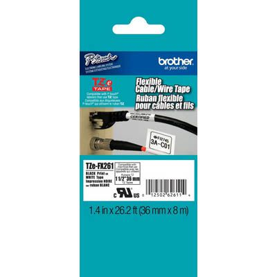 Image for BROTHER TZE-FX261 FLEXIBLE LABELLING TAPE 36MM BLACK ON WHITE from OFFICE NATIONAL CANNING VALE, JOONDALUP & OFFICE TOOLS OPD