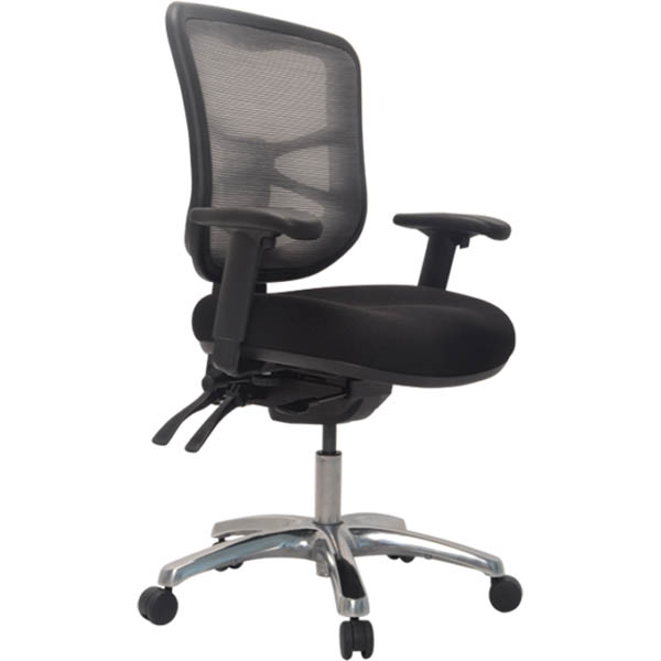 Image for BURO METRO TASK CHAIR MEDIUM MESH BACK SEAT SLIDE 3-LEVER POLISHED ALUMINIUM BASE ARMS BLACK from PaperChase Office National