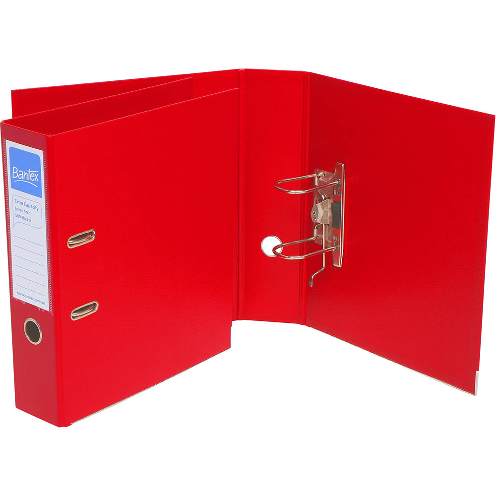 Image for BANTEX PP EXTRA CAPACITY LEVER ARCH FILE 80MM A4 RED from Office National Capalaba