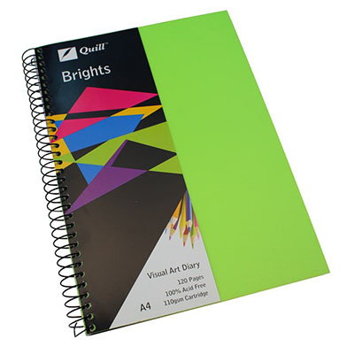 Image for QUILL VISUAL ART DIARY 110GSM 120 PAGE A4 PP LIME GREEN from SBA Office National