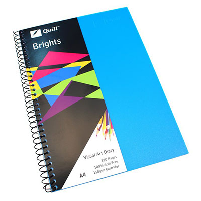 Image for QUILL VISUAL ART DIARY 110GSM 120 PAGE A4 PP MARINE BLUE from SBA Office National