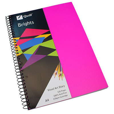 Image for QUILL VISUAL ART DIARY 110GSM 120 PAGE A4 PP CERISE PINK from Wetherill Park / Smithfield Office National