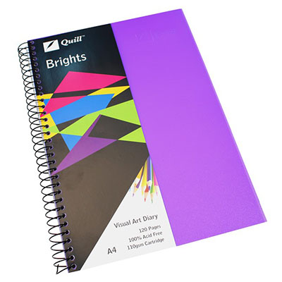 Image for QUILL VISUAL ART DIARY 110GSM 120 PAGE A4 PP DARK PURPLE from SBA Office National