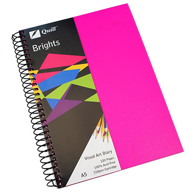 Image for QUILL VISUAL ART DIARY 110GSM 120 PAGE A5 PP CERISE PINK from SBA Office National