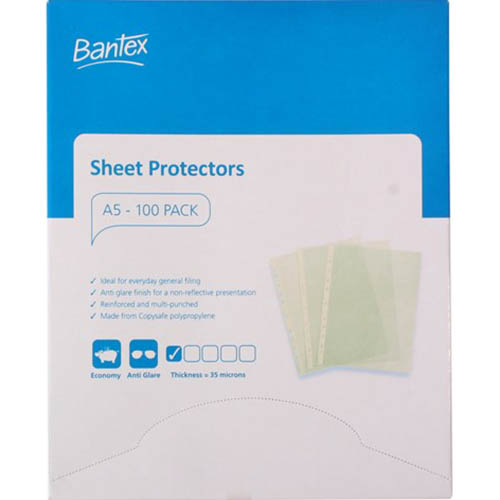 Image for BANTEX ECONOMY SHEET PROTECTORS 35 MICRON A5 CLEAR BOX 100 from Axsel Office National