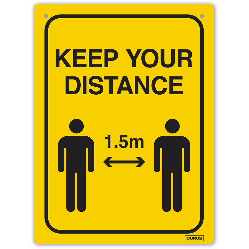 Image for DURUS WALL SIGN SOCIAL DISTANCE RECTANGLE 225 X 300MM BLACK/YELLOW from OFFICE NATIONAL CANNING VALE, JOONDALUP & OFFICE TOOLS OPD