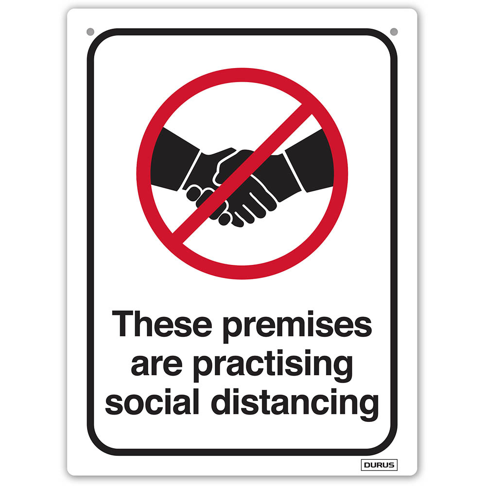 Image for DURUS WALL SIGN SOCIAL DISTANCE PREMISES RECTANGLE 225 X 300MM BLACK/RED from OFFICE NATIONAL CANNING VALE, JOONDALUP & OFFICE TOOLS OPD