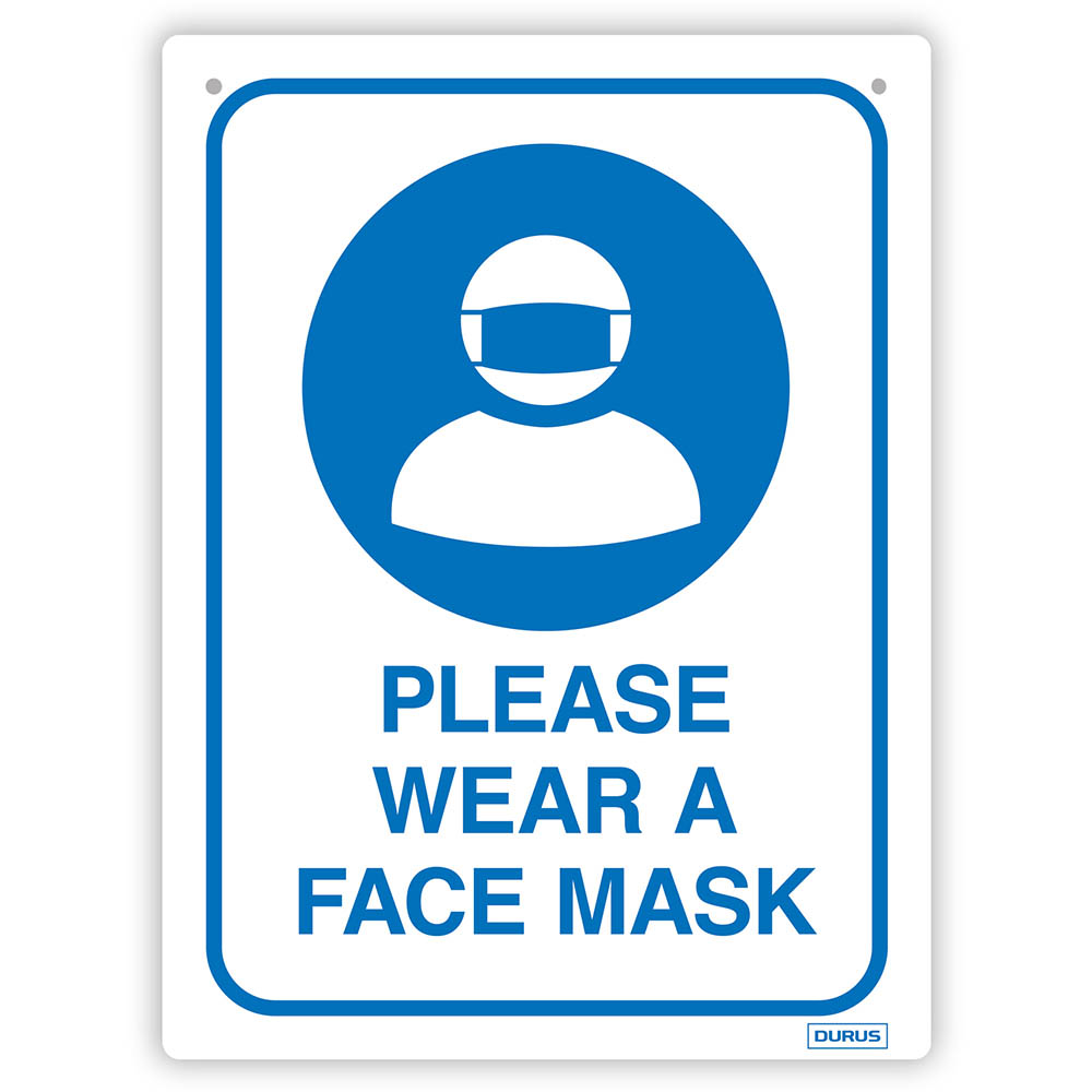 Image for DURUS WALL SIGN PLEASE WEAR A FACE MASK RECTANGLE 225 X 300MM BLUE/WHITE from Copylink Office National