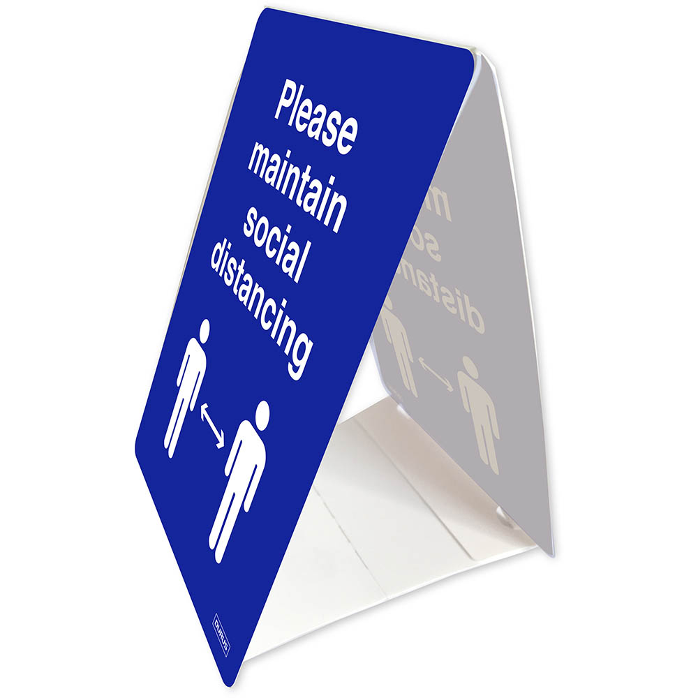 Image for DURUS TENT STAND SOCIAL DISTANCE 100 X 150MM BLUE/WHITE from OFFICE NATIONAL CANNING VALE, JOONDALUP & OFFICE TOOLS OPD