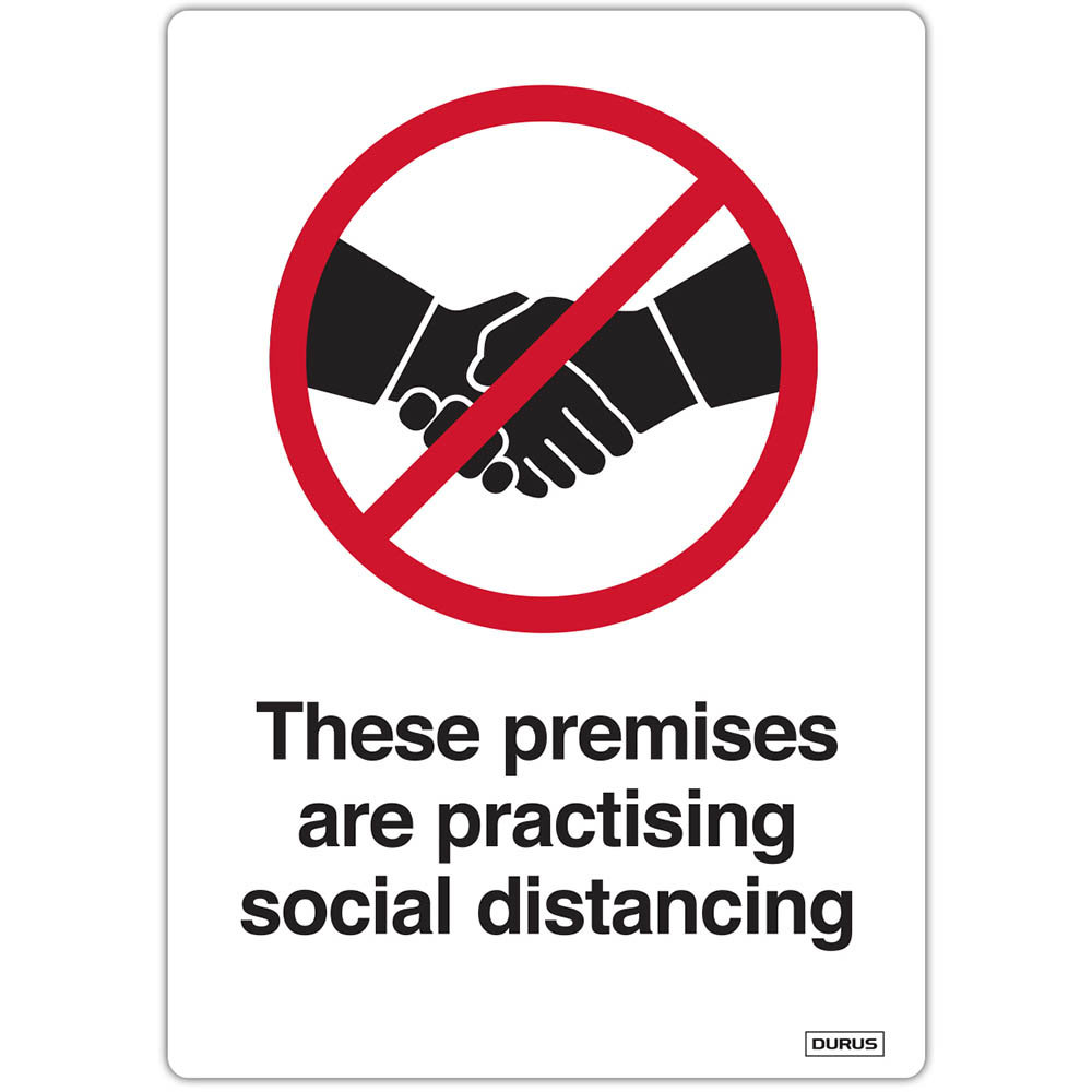 Image for DURUS SELF ADHESIVE DECAL THESE PREMISES ARE PRACTISING SOCIAL DISTANCE 105 X 148MM BLACK/RED PACK 2 from OFFICE NATIONAL CANNING VALE, JOONDALUP & OFFICE TOOLS OPD