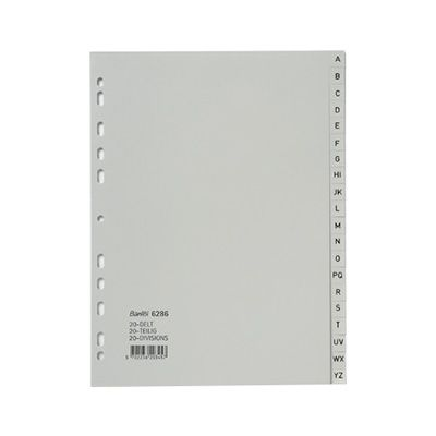 Image for BANTEX PP INDEX DIVIDER A-Z A4 GREY from Axsel Office National