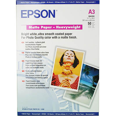 Image for EPSON C13S041261 PREMIUM PRESENTATION PHOTO PAPER MATTE 167GSM A3 WHITE PACK 50 from Office National Capalaba