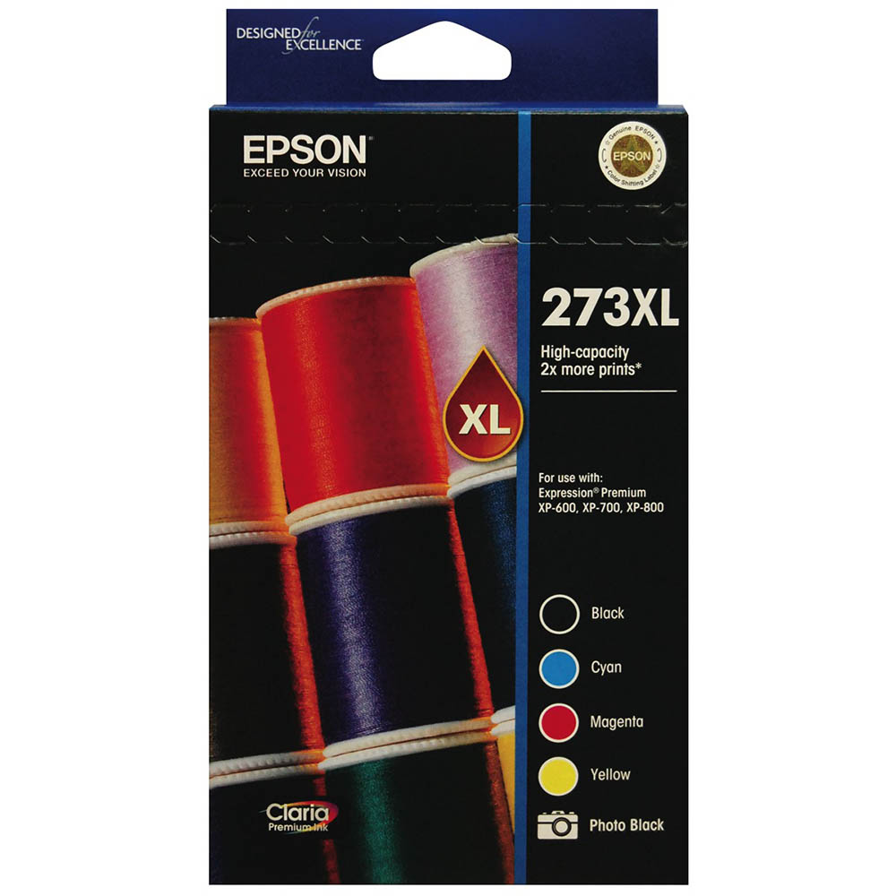 Image for EPSON 273XL INK CARTRIDGE HIGH YIELD VALUE PACK BLACK/PHOTO BLACK/CYAN/YELLOW/MAGENTA from Connelly's Office National