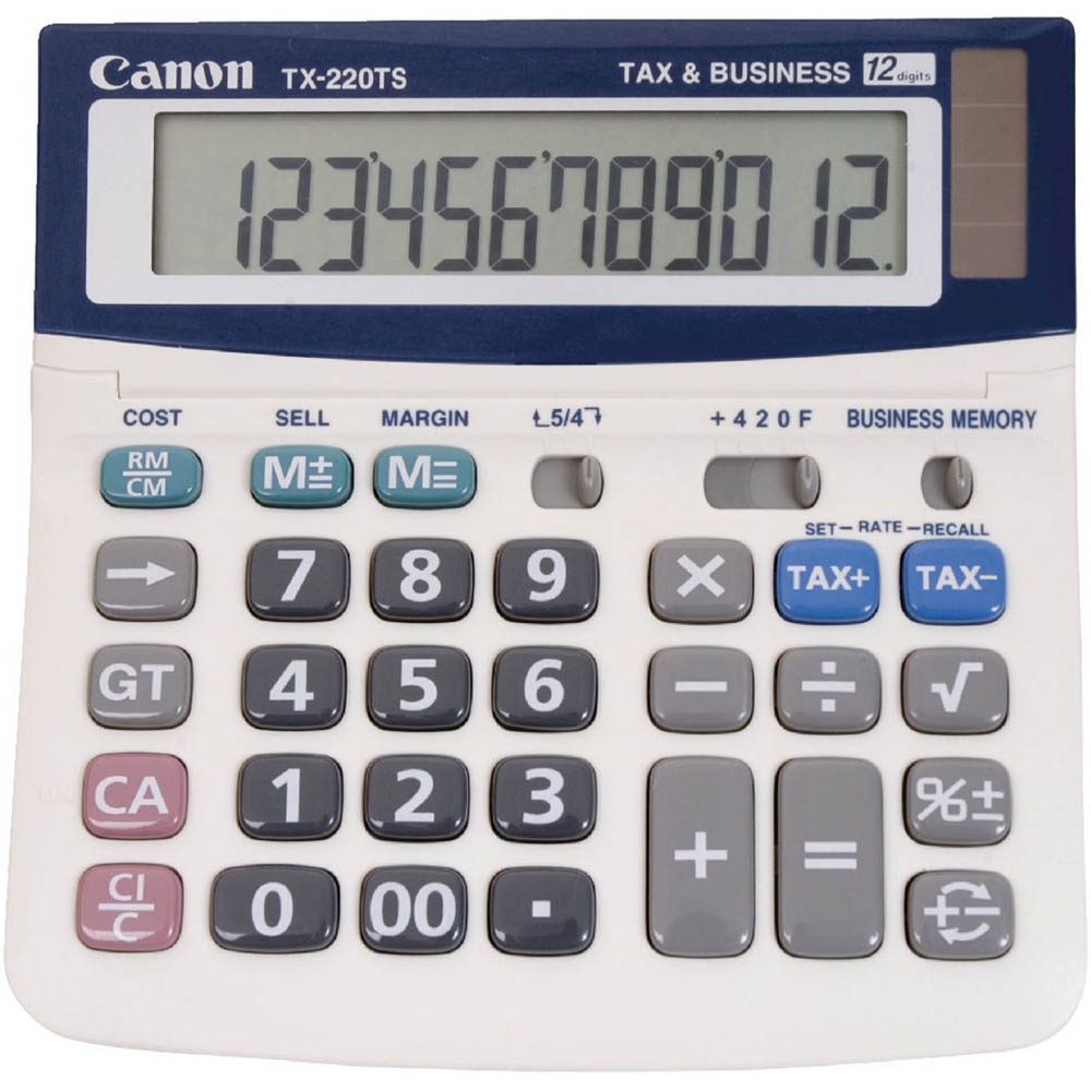 Image for CANON TX-220TS DESKTOP CALCULATOR 12 DIGIT GREY from Office National Capalaba