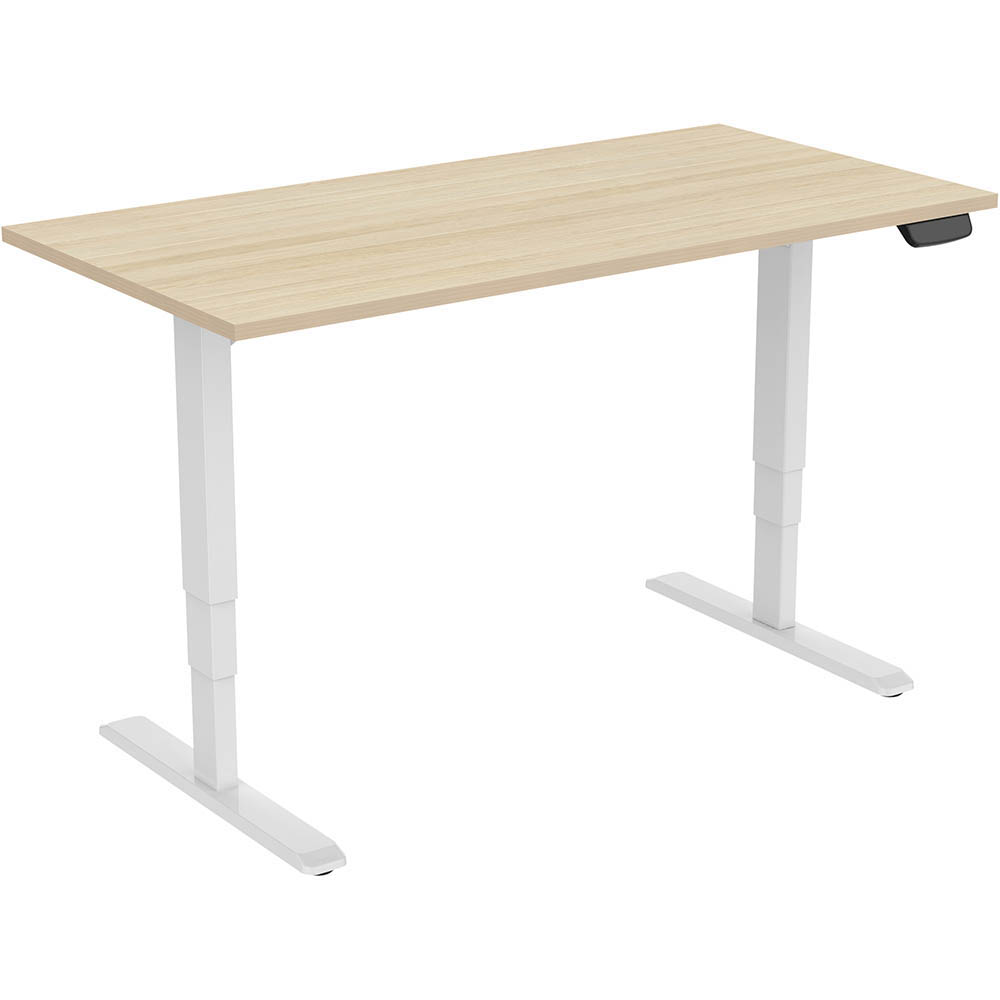 Image for ERGOVIDA ELECTRIC SIT STAND DESK DUAL MOTOR 1500 X 750MM WHITE/NEW OAK from Our Town & Country Office National