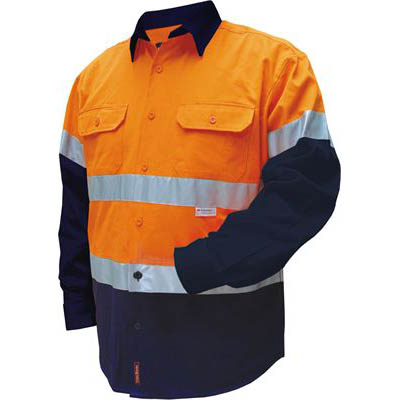 Image for PRIME MOVER MF101 COTTON DRILL SHIRT FLAME RETARDANT WITH REFLECTIVE TAPE 2 TONE from Office National Barossa