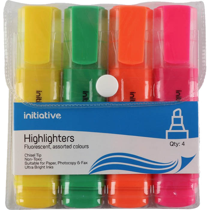 Image for INITIATIVE HIGHLIGHTER CHISEL ASSORTED WALLET 4 from City Stationery Office National