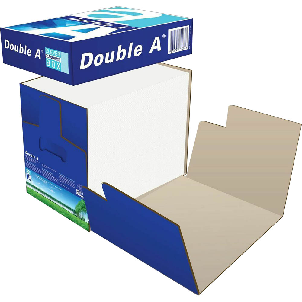 Image for DOUBLE A SMOOTHER A4 COPY PAPER CLEVER BOX 80GSM WHITE BOX 2500 SHEETS from Emerald Office Supplies