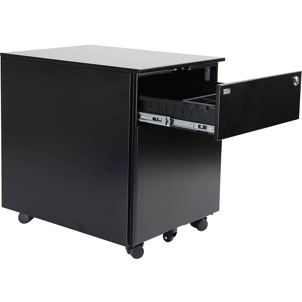 Image for SKAN SIT-STAND MOBILE PEDESTAL 1 SHALLOW 1 FILE DRAWER 510 X 520 X 390MM BLACK POWDERCOAT from Copylink Office National