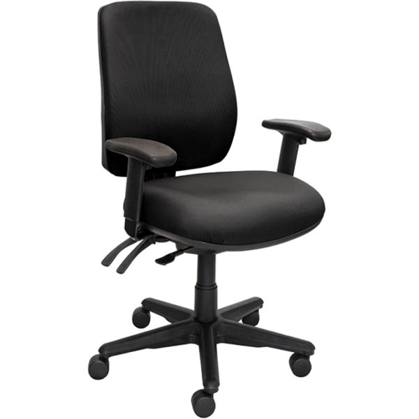 Image for BURO ROMA TASK CHAIR HIGH BACK 3-LEVER ARMS JETT BLACK from Copylink Office National