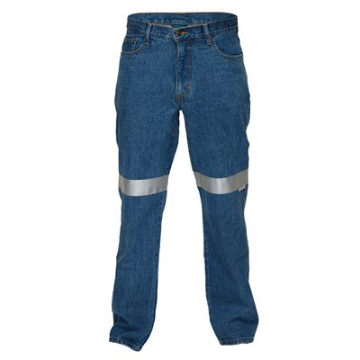 Image for PRIME MOVER MW169 COTTON DENIM JEANS WITH CONTRAST STITCHING WITH REFLECTIVE TAPE from OFFICE NATIONAL CANNING VALE, JOONDALUP & OFFICE TOOLS OPD