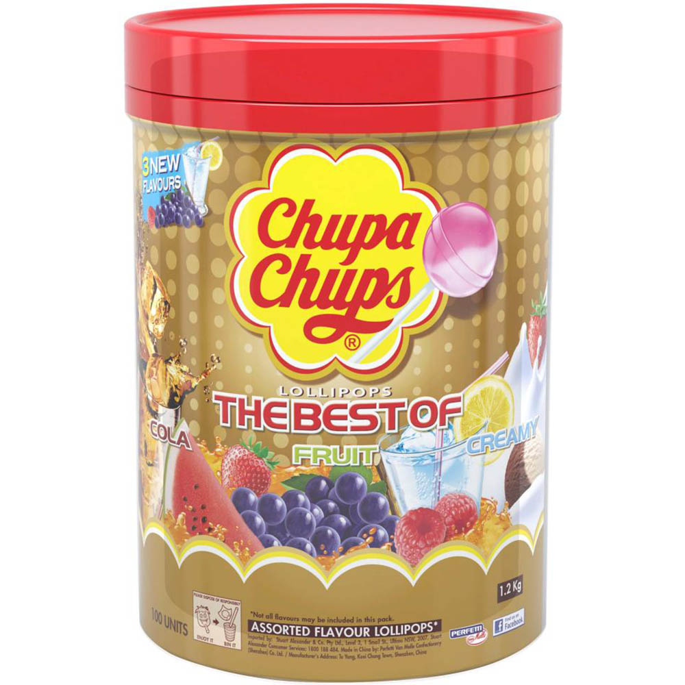 Image for CHUPA CHUPS LOLLIPOPS BEST OF ASSORTED TUB 100 from Office National Capalaba