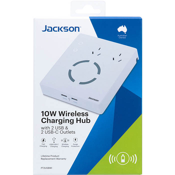 Image for JACKSON CHARGING HUB WIRELESS SURGE PROTECTED 2 OUTLET WITH USB OUTLETS from Copylink Office National