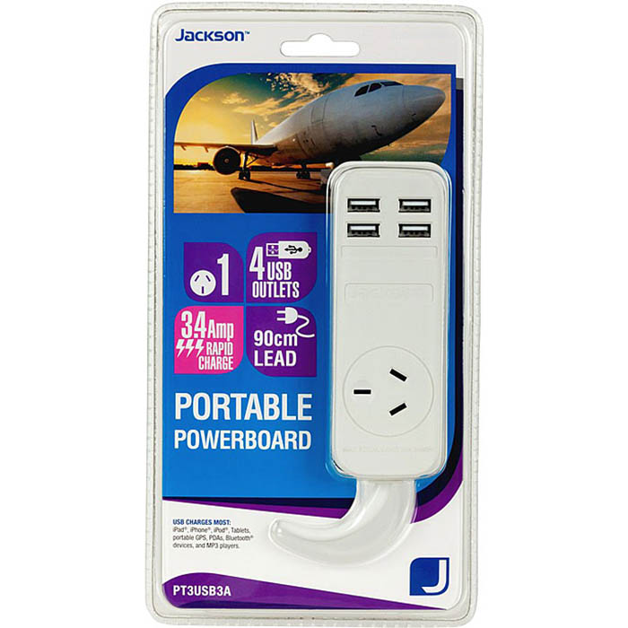 Image for JACKSON POWERBOARD PORTABLE SINGLE OUTLET WITH USB OUTLETS from Office National Capalaba